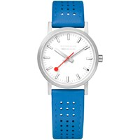 Mondaine Unisex Sbb Classic Rally Leather Strap Watch Bright Blue White A658.30323.16Sbd