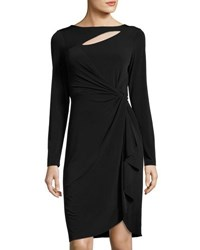 Catherine Malandrino Long Sleeve Keyhole Faux Wrap Dress Black