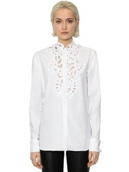 Ermanno Scervino Long Sleeve Cotton Poplin And Lace Shirt Bright White