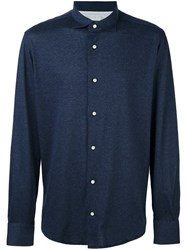 Eleventy Cuffed Button Down Shirt Blue
