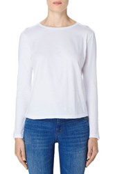 J Brand Women's Crete Button Sleeve Cotton Tee White