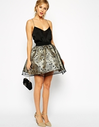Asos Skater Skirt In Metallic Floral With Organza Overlay Multi