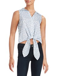 Michael Michael Kors Embroidered Front Tie Tank White