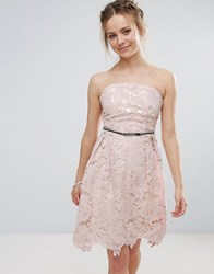 Little Mistress Lace Prom Belted Dress Repeat Pink