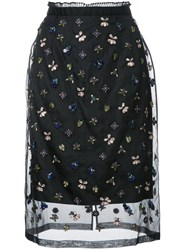 Markus Lupfer Embroidered Sheer Skirt Black