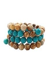 Savvy Cie Jasper And Turquoise Wrap Bracelet Blue
