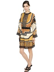 Alberta Ferretti Printed Silk Haboutai And Lace Dress