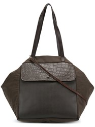 Carmina Campus Geometric Oversized Tote Brown