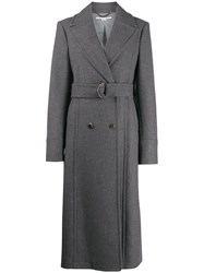 Stella Mccartney Double Breasted Belted Coat Grey