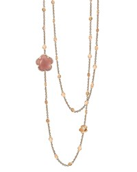 Pasquale Bruni 18K Rose Gold Bon Ton Floral Dark Pink Chalcendony And Diamond Necklace 40 Pink Rose Gold