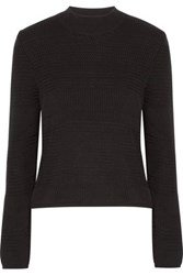 Maison Martin Margiela Leather Trimmed Cotton And Striped Twill Sweater Black