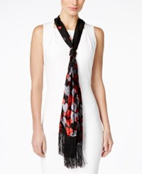 Inc International Concepts Ombre Velvet Hearts Skinny Scarf Only At Macy's Black Red