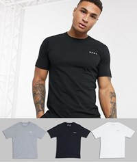Dkny 3 Pack Logo Crew Neck T Shirts Multi