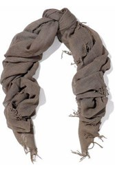 Chan Luu Fringe Trimmed Cashmere And Silk Blend Gauze Scarf Taupe