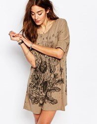 Religion T Shirt Dress With Garden Print Dusty Olive Black