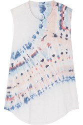 Raquel Allegra Tie Dyed Cotton Blend Jersey Tank Light Gray