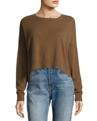 Vince Cropped Wide Neck Cashmere Sweater Black