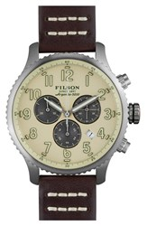 Men's Filson 'The Mackinaw Field' Chronograph Watch 43Mm Brown Cream Silver