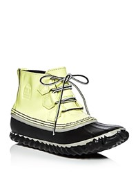 Sorel Out N About Waterproof Patent Leather Lace Up Duck Booties Zest