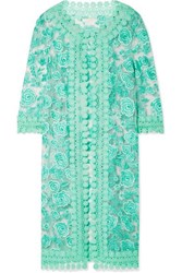 Naeem Khan Guipure Lace Trimmed Embroidered Tulle Jacket Mint