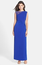 Women's Ellen Tracy Lace Inset Twist Front Jersey Gown