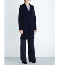 Harris Wharf Cocoon Wool Coat Navy Blue