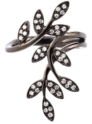 Joelle Jewellery Diamond Leaves Ring Metallic