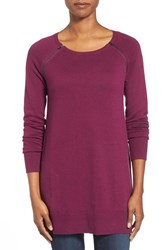 Petite Women's Caslon Zip Seam Cotton Blend Tunic Sweater Purple Dark