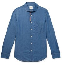 Paul Smith Soho Embroidered Cotton And Tencel Blend Chambray Shirt Blue