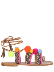Gia Couture 10Mm Pompom Embroidered Leather Sandals