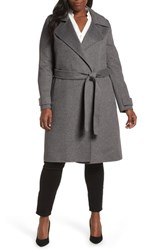 Badgley Mischka Double Face Wool Blend Wrap Front Coat Grey
