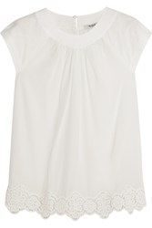 Madewell Crocheted Lace Trimmed Cotton Top White