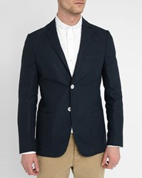 Knowledge Cotton Apparel Navy Linen Suit Jacket