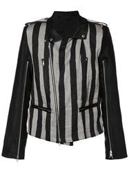 Ann Demeulemeester Striped Biker Jacket Black