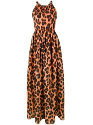 Blugirl Long Leopard Print Dress Women Silk Cotton 42 Yellow Orange
