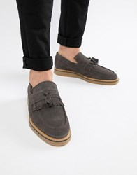 Asos Design Loafers In Grey Suede With Faux Crepe Sole