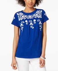 Charter Club Cotton Floral Print T Shirt Created For Macy's Modern Blue