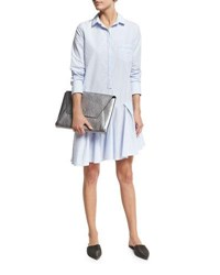 Brunello Cucinelli Micro Paillette Trim Shirtdress Sky