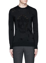 Alexander Mcqueen Distressed Skull Wool Cotton Sweater Black