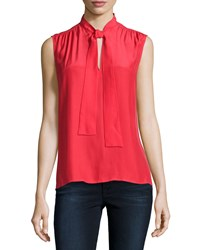 Frame Le Sleeveless Neck Tie Shirt Lipstick Red
