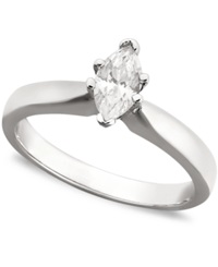 Macy's Certified Marquise Diamond Solitaire Engagement Ring In 14K White Gold 3 8 Ct. T.W.