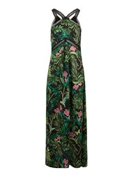 Morgan Exotic Print Silk Maxi Dress Black Multi