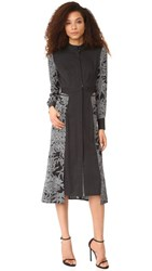 Diane Von Furstenberg Long Sleeve Cinch Waist Shirtdress Lepic Black Navier Dot