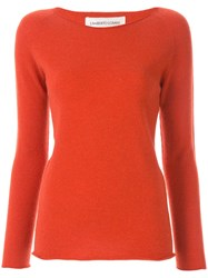 Lamberto Losani Long Sleeve Fitted Sweater Orange