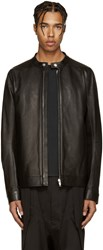 Rick Owens Black Leather Windbreaker Jacket