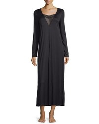 Hanro Eleonora Long Sleeve Long Gown Black