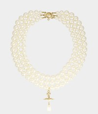 Vivienne Westwood Three Rows Pearl Necklace Gold Tone