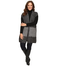 B Collection By Bobeau Curvy Plus Size Kori Oversized Sweater Vest Charcoal Grey Women's Vest Gray