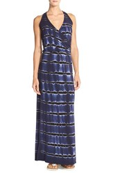 Women's Hard Tail Tie Dye Knit Maxi Dress Double Electric Blue Black
