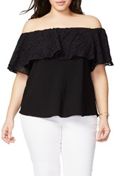 Rachel Roy Plus Size Women's Lace Ruffle Off The Shoulder Top